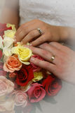 With these rings. Hands on wedding day stock image