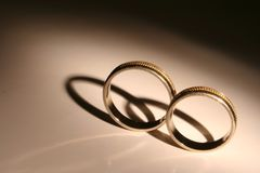 Rings. Two engagement rings in the spotlight Royalty Free Stock Photography