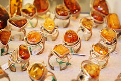 Rings with amber Royalty Free Stock Images