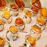 Rings with amber Royalty Free Stock Photo