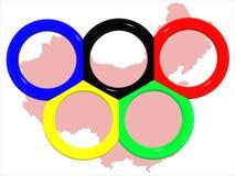 Rings&map olimpico della Cina. Fotografia Stock Libera da Diritti