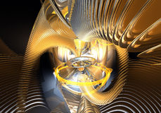 Rings&wires alaranjados no espaço (sumário) Fotografia de Stock