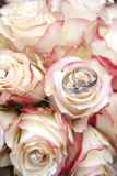 Rings on bouquet. Beautiful rings on natural flower Royalty Free Stock Photography