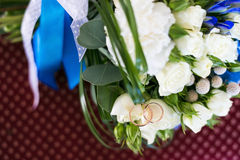 Rings bouquet blue red white. Macro detail Stock Image