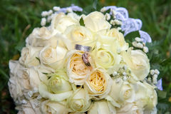 Rings on the bouquet Royalty Free Stock Image