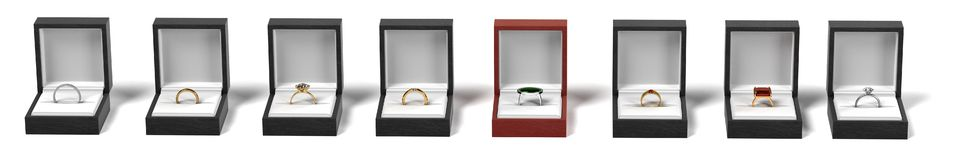 Rings in boxes Royalty Free Stock Photos