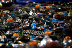 Silver rings for sale in souq in Morocco stock photos