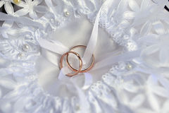 Rings on bridal  pillow Royalty Free Stock Photo