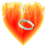 Rings in the burning heart. Symbol burning heart goodbye to segregate Stock Photo