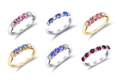 Rings with Colored Gemstones Royalty Free Stock Photos