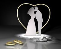 Rings and comfit wedding. Ceremony gold Royalty Free Stock Photography
