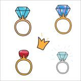 Rings with diamonds. Doodle icons, set. Vector illustration Royalty Free Stock Image
