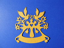 Rings and doves,paper cutting Royalty Free Stock Image
