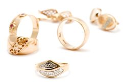 Rings and ear rings Royalty Free Stock Photography