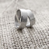 Rings Engraved With The Lords Prayer In Serbian Stock Image