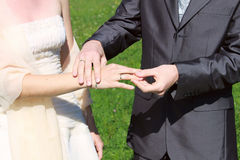 Rings exchange in the wedding Stock Images