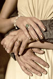 Rings on Fingers: Man and Woman Royalty Free Stock Image