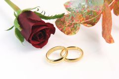 Rings and flowers Royalty Free Stock Photo