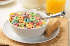 Rings of fruit flavored breakfast cereal Royalty Free Stock Images
