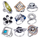 Rings  with gemstones  isolated Royalty Free Stock Photography