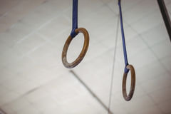 Rings in gymnasium. Close-up of rings in gymnasium Royalty Free Stock Photography