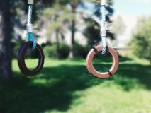 Rings for gymnastics. On the Playground Stock Photography