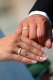 Rings and hands. Wedding rings and hands together Stock Photography