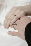 Rings and Hands. Wedding Rings Royalty Free Stock Photography