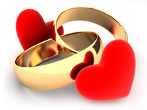 Rings and heart Stock Photo