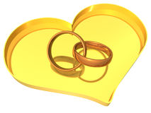 Rings and Heart - 3D Stock Photography