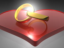 Rings and Heart - 3D Royalty Free Stock Photos
