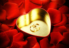 Rings, heart and roses Stock Photography