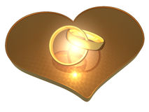 Rings and hearts - 3D Royalty Free Stock Photos