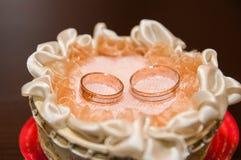 Rings Honeymoon. Gold wedding rings for newlyweds Royalty Free Stock Photos