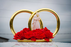Rings Honeymoon. Gold wedding rings for newlyweds Stock Photos