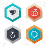 Rings icons. Jewelry with diamond signs Stock Photos