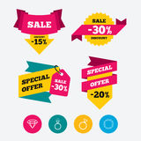 Rings icons. Jewelry with diamond signs. Royalty Free Stock Photos