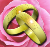 Rings. Illustration of two interlocked wedding rings with the words LOVE and HEART embossed Royalty Free Stock Photo