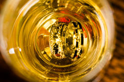 Rings inside champagne glass royalty free stock photos