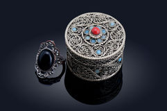 Rings and jewelry box Royalty Free Stock Photo