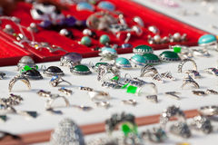 Rings on jewelry counter Stock Images