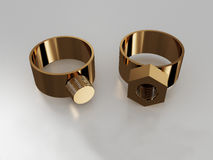 Rings with a nut and bolt Royalty Free Stock Photos