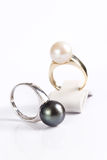 Rings with pearls Royalty Free Stock Photos