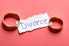 Rings on piece of paper with divorce text Royalty Free Stock Photo