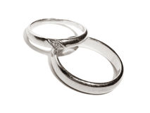 Rings (platinum toned). Two wedding gold rings close up platinum toned version Stock Image