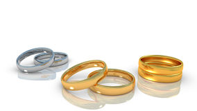Rings of relationship life. Alliances of relationship life - engagement, marrige wedding, widowhood Royalty Free Stock Photos