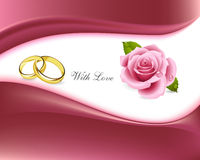 Rings and roses with love card Royalty Free Stock Image