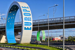 Rings at roundabout in Adler. Olympic rings at the roundabout `Adlerovskoe kol`co` in Adler. Sochi, Russia Stock Photo