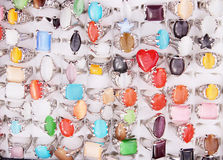 Rings with semi-precious stones Royalty Free Stock Photos