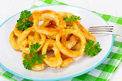 Rings of Squid Fried, Grilled Stock Photo